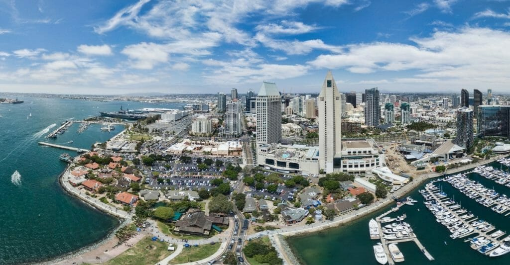 Aerial View of San Diego Downtown and waterfront