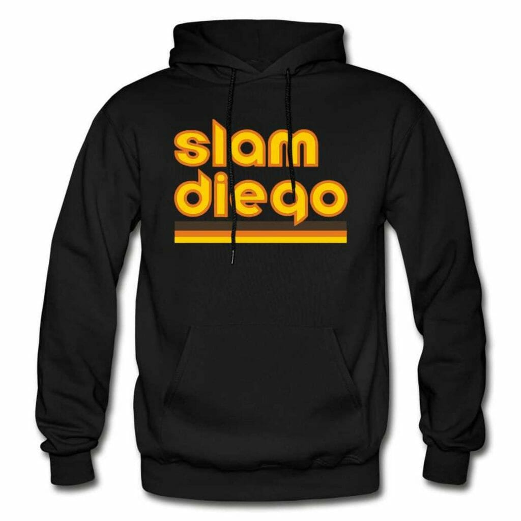 Black hoodie sweatshirt with yellow writing: Slam Diego