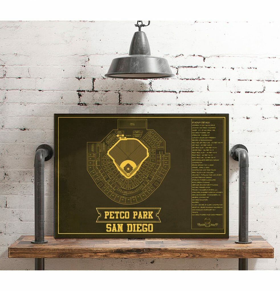 Dark brown vintage print with yellow writing and outline of Petco Park Stadium