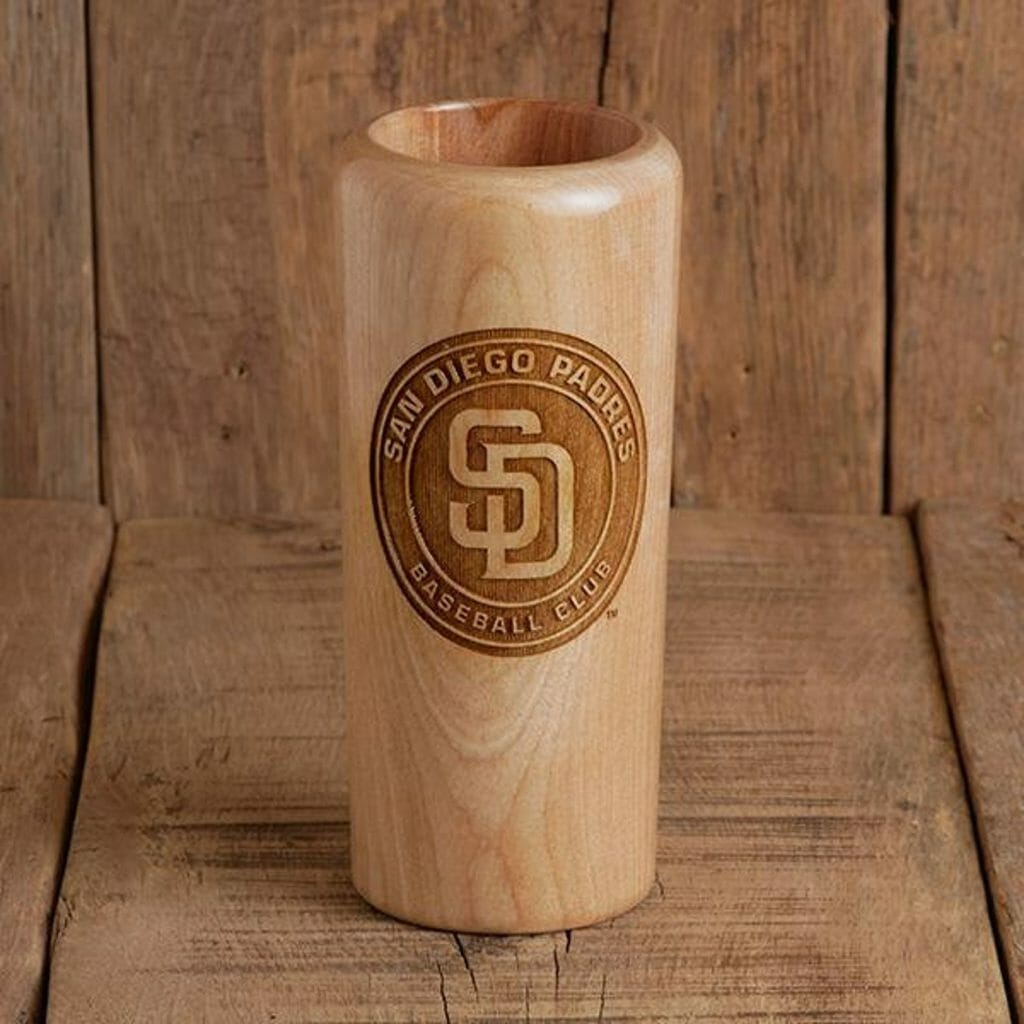 tall narrow wood mug with San Diego Padres logo