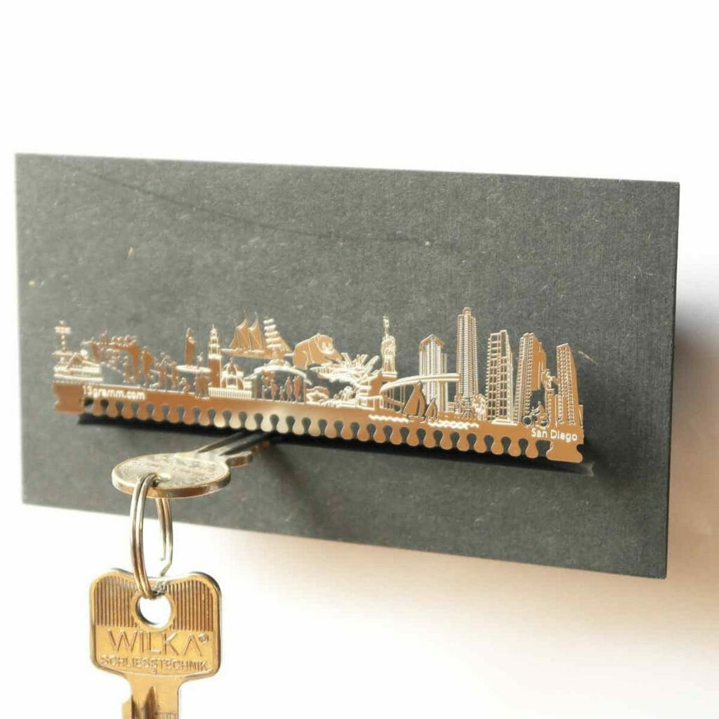 Metal key rack with san diego skyline