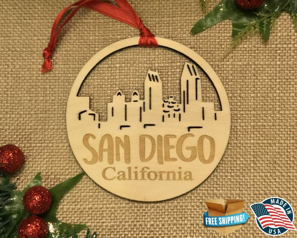 Wood Christmas ornament with San Diego Skyline