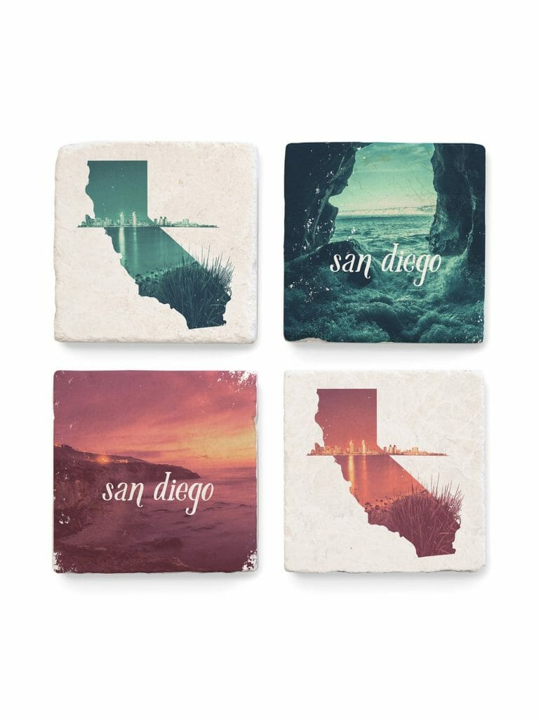 Set of 4 San diego inspired coasters in two in pink and two in green