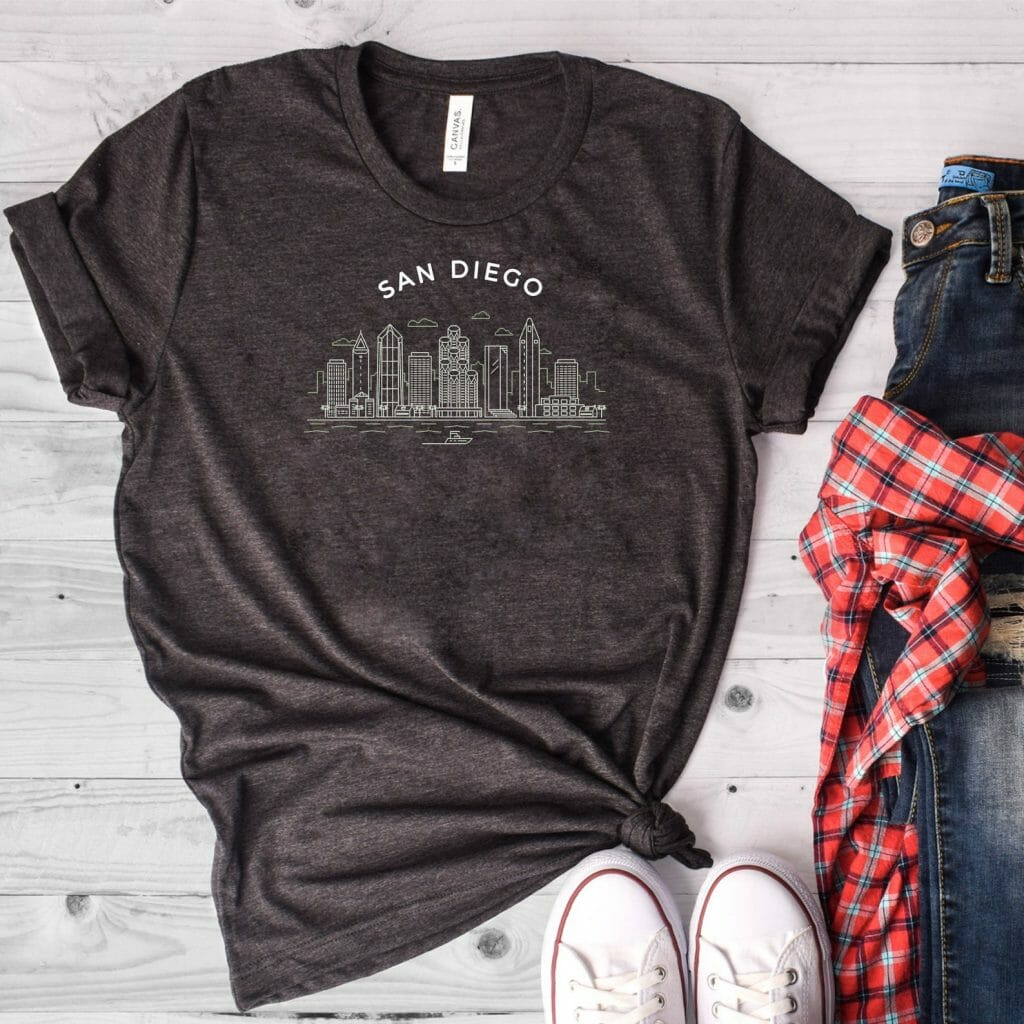 Dark grey shirt with San diego Skyline on white background