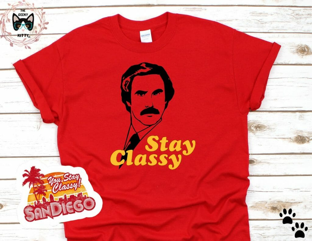 Red tshirt with black outline of a face and yellow text: Stay Classy