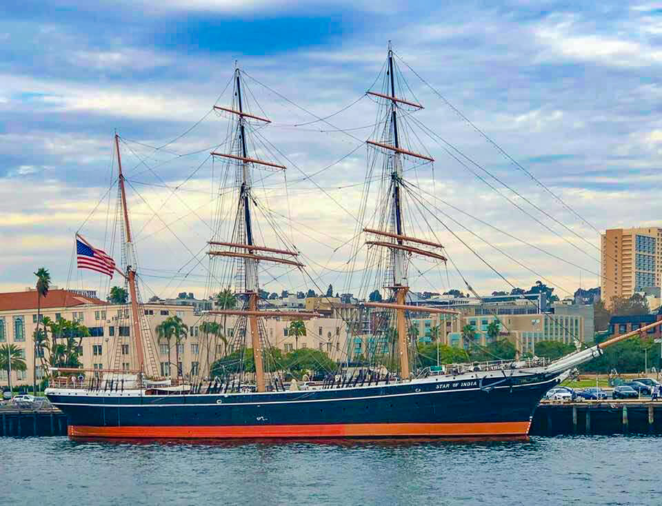 View of Star of India from the water, a historic sail boat that lies in the San Diego Harbor
