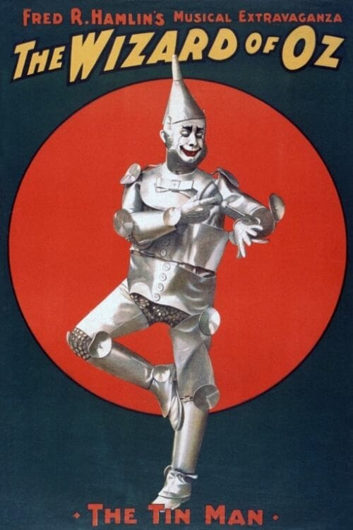 Vintage poster of The Wizard of Oz with the tin man in front of red circle on black ground