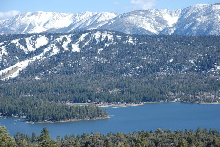 Big Bear Lake and snow capped Big Bear Mountain