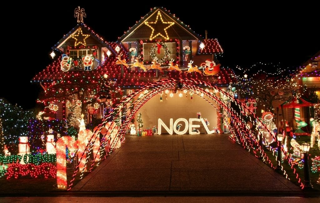 Beautiful decorated house with lots of Christmas Lights San Diego