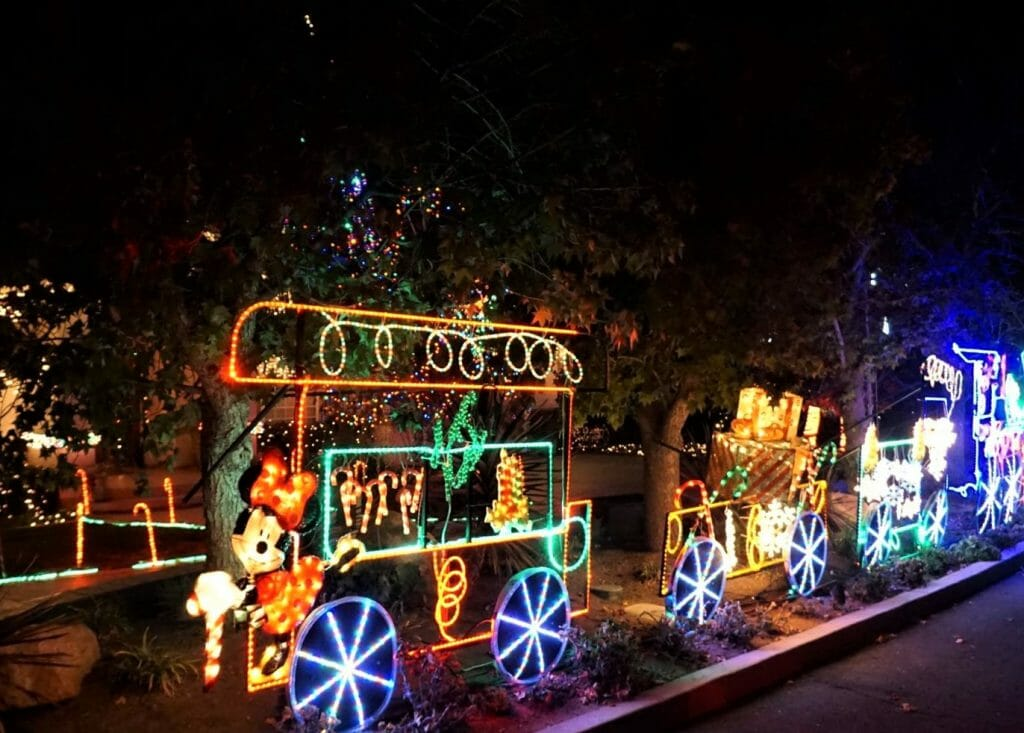 Train-style Christmas Lights display El Cajon