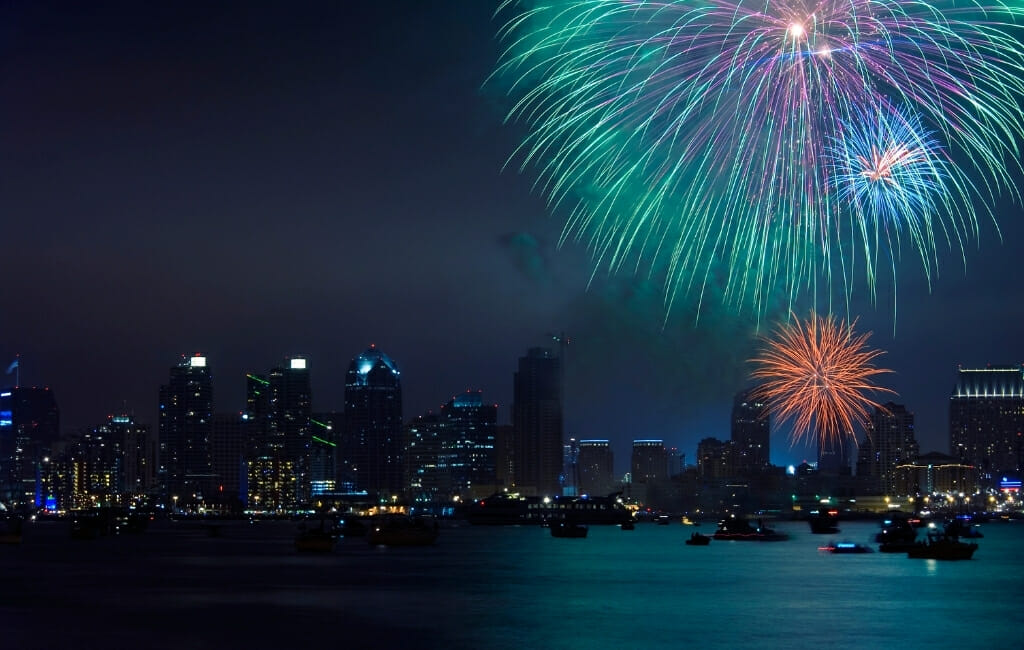 firworks over San Diego Skyline - New Years Eve San Diego