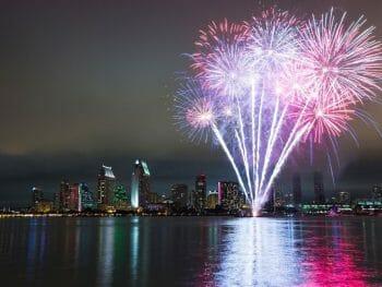 Pink New Years Eve Fireworks San Diego Skyline and San Diego Bay