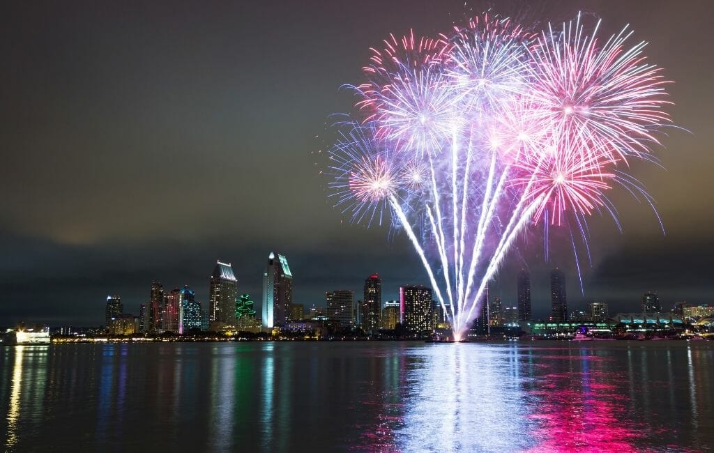 Pink New Years Eve Fireworks San Diego Skyline and San Diego Bay