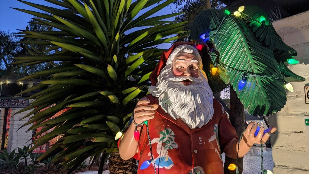 Santa clause with Hawaiian shirt and Christmas lights in front of palm trees