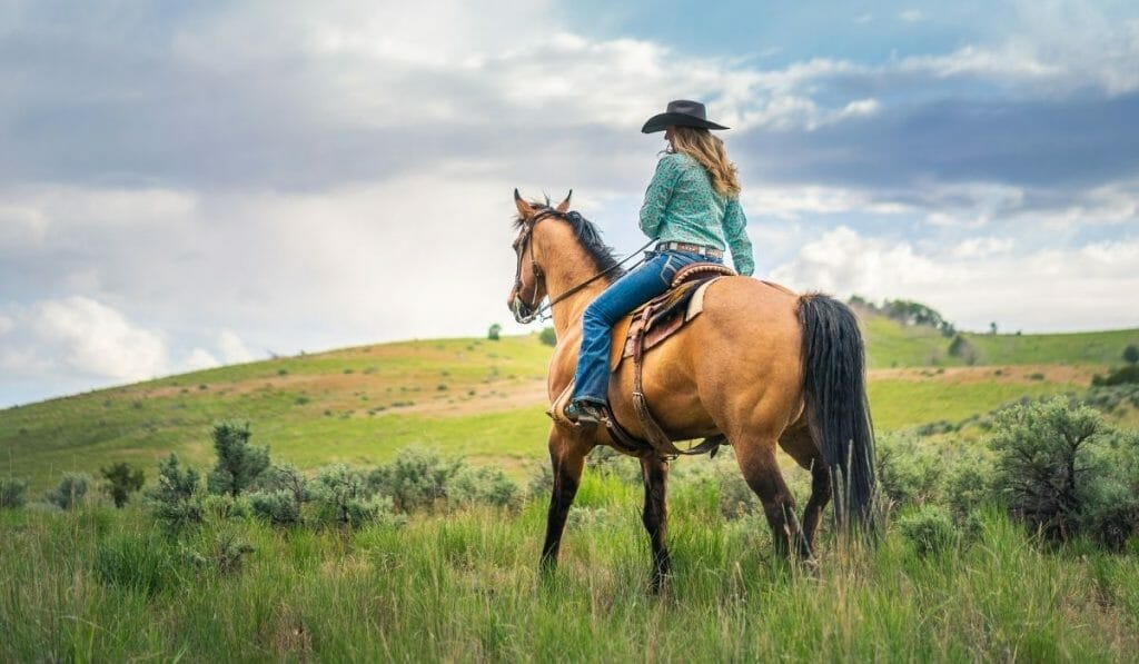 Woman with a cowboy hat sitting on a tan horse riding over a green hill away from the photographer
