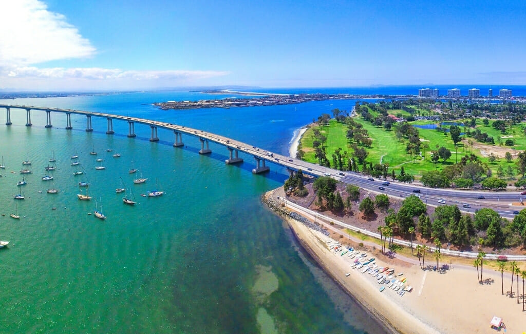 Aerial view of Coronado Bay Bridge and Coronado
