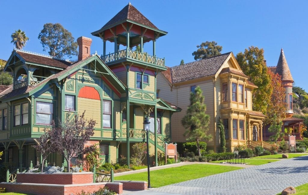 Colorful victorian houses in Old Town Heritage Park San Diego California