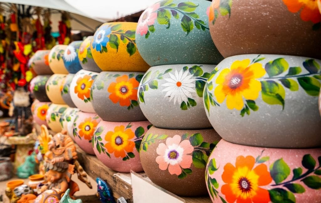 Colorful plant pots with flowers and decoration at Old Town Market San Diego California