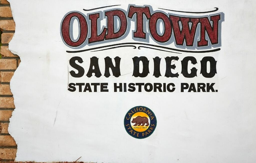 Entrance sign of the Old Town San Diego State Historic Park