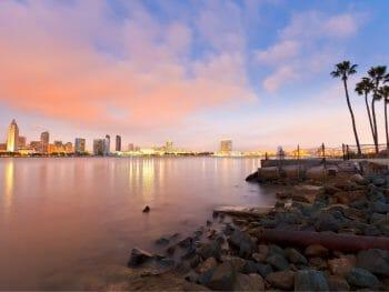 sunset of san diego skyline from Coronado island - San Diego Winter