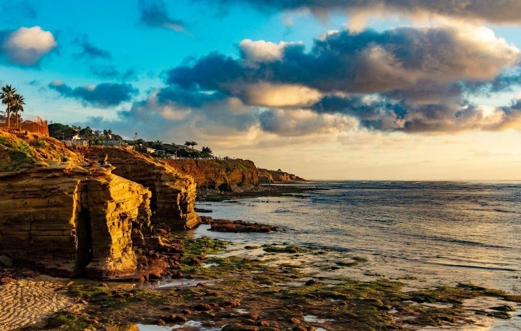 sandstone cliffs in San Diego called Sunset Cliffs