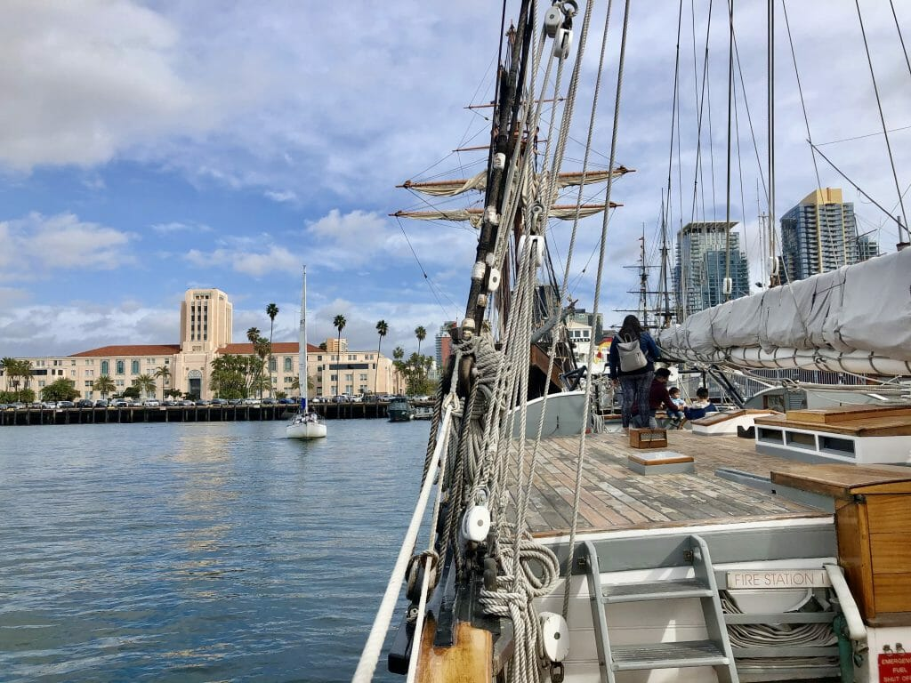 Historic sailboat Californian with San Diego City Hall in the background