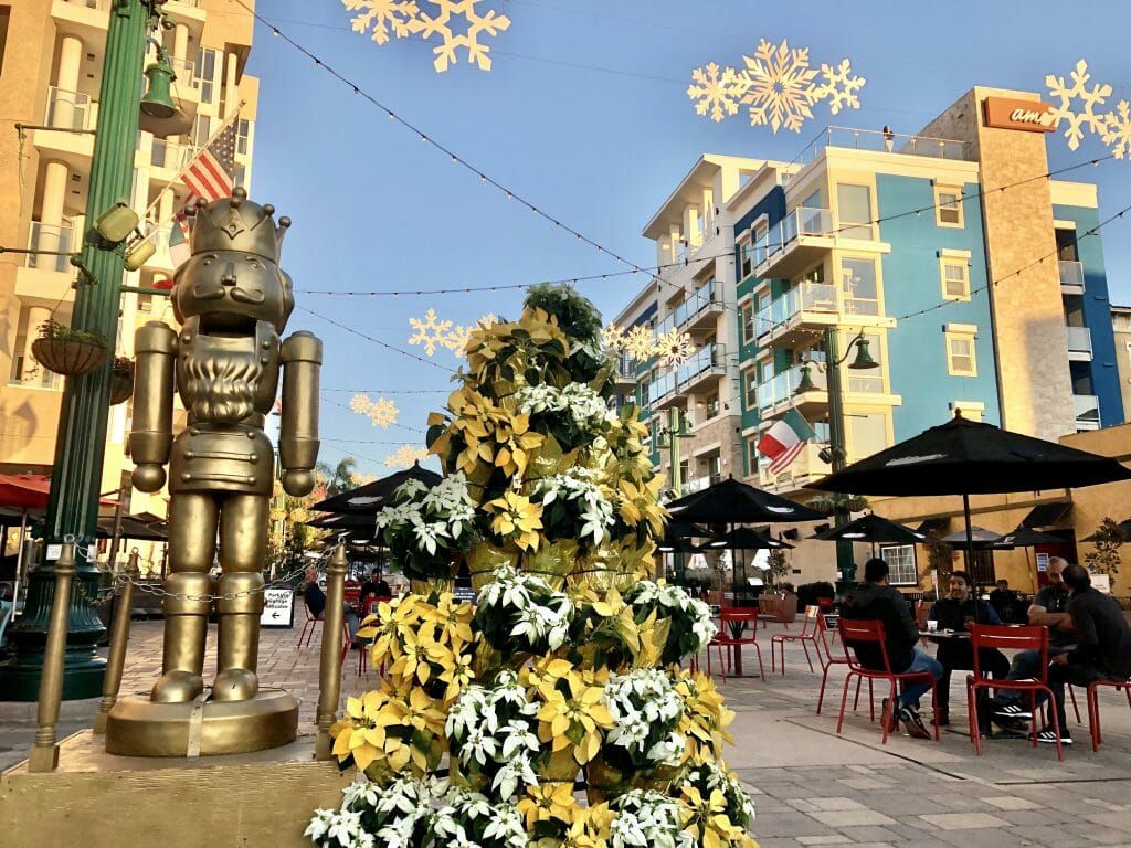 Christmas decoration at the Piazza delle familia in Little Italy San Diego