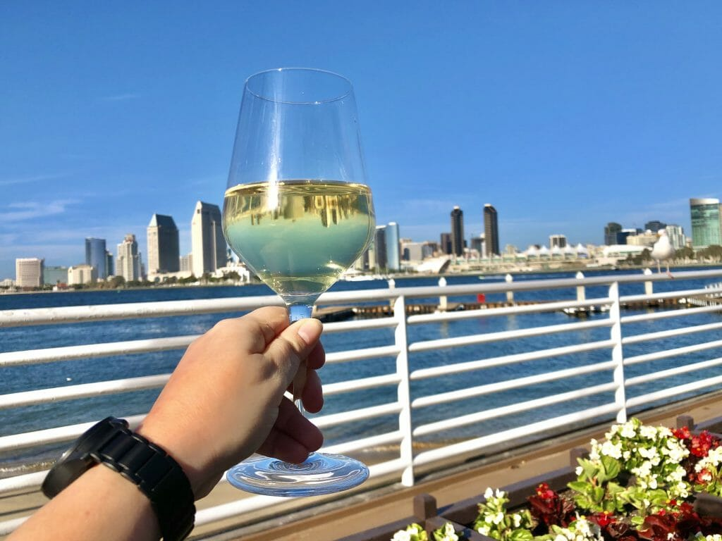 hand holding a wine glass with white wine with a white reeling and behind it the San Diego bay and the San Diego skyline