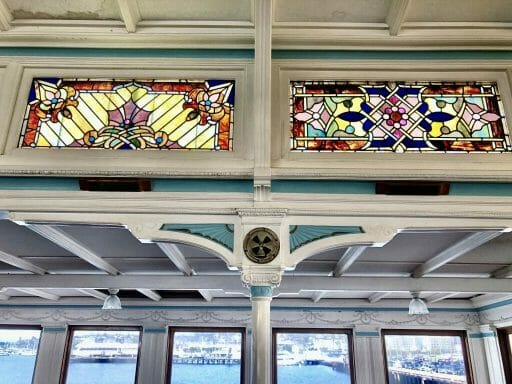 Art-deco stained windows on board the historic Berkeley ferry