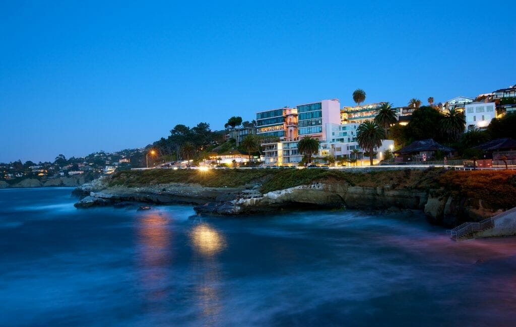 Blue hour of coast line and beachfront houses at La Jolla Cove