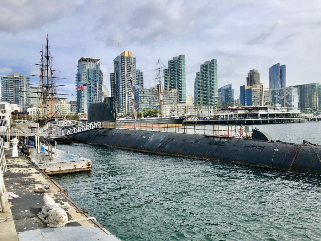 Dock of the Maritime Museum San Diego with Russian Submarine and Downtown San Diego in the background