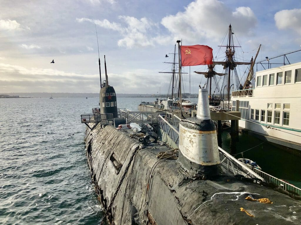 Historic submarine with Chinese flag flying - B-39, Soviet Foxtrot class submarine