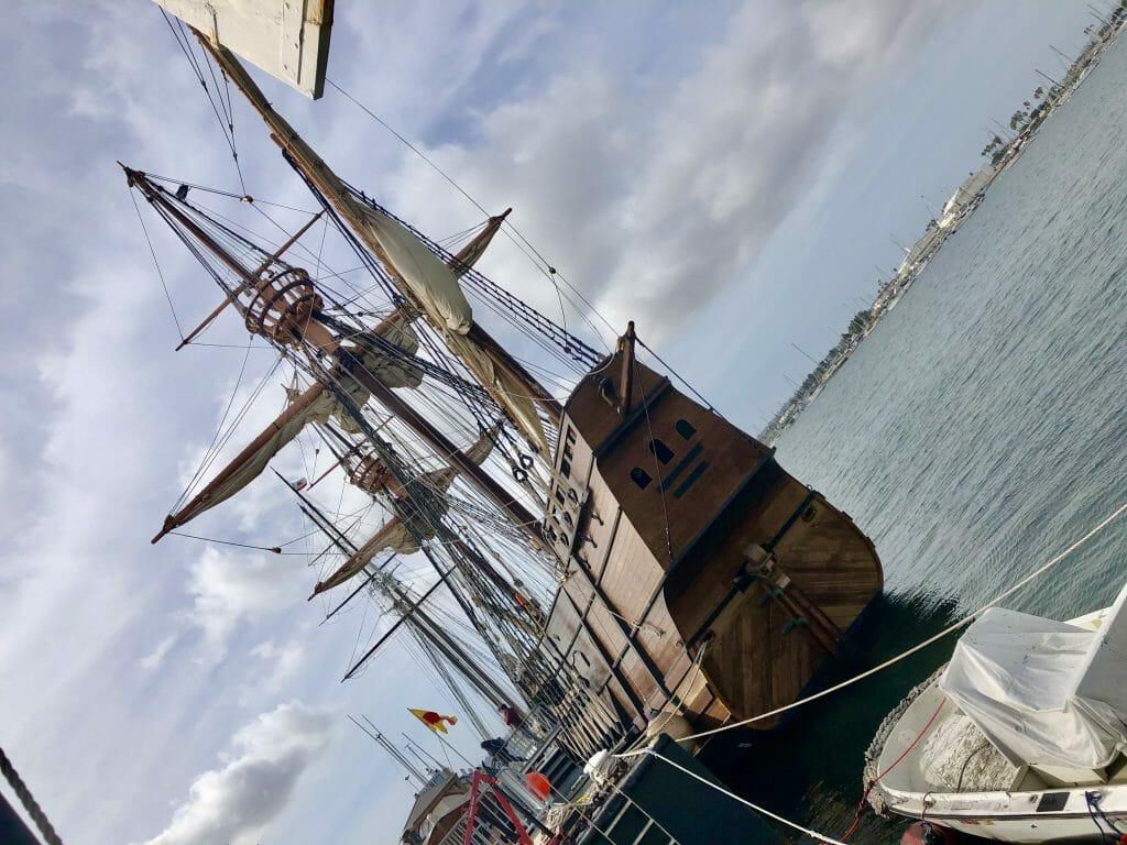 Historic wood sail boat replica of the San Salvador