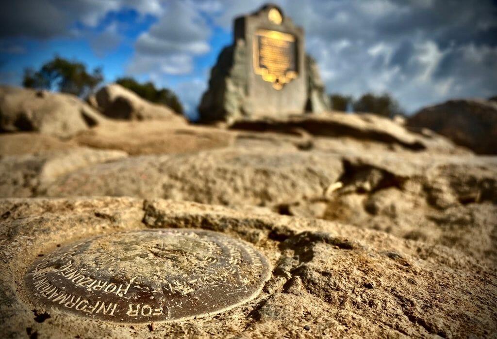 Peak marker at Cowles mountain San Diego