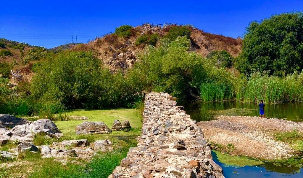 Old broken stone Dam at Mission Trails Nature Park