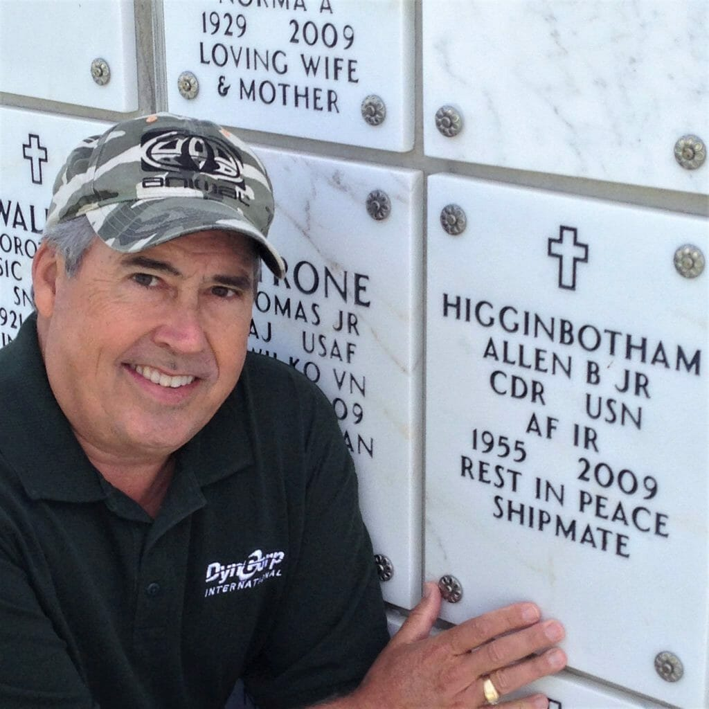 Michael Kompanik at the Interment Site of his Friend at Rosecrans National Cemetery San Diego