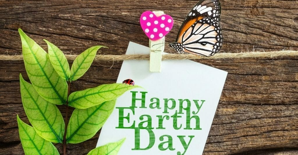 Wood board with white paper note reading Happy Earth day, a branch with leaves, a mushroom pin and a butterfly