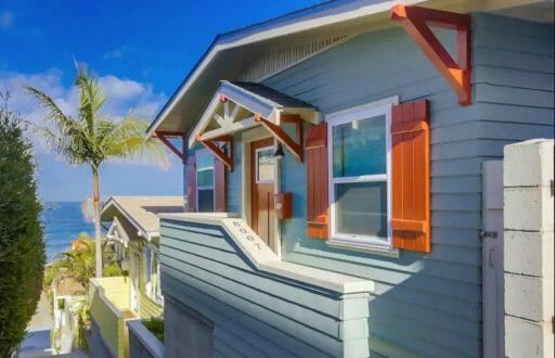historic blue Craftsman cottage in La Jolla California