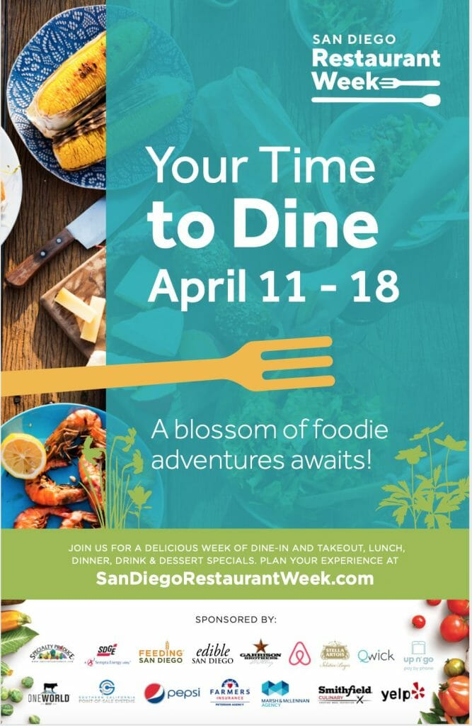 Poster of San Diego Restaurant Week with food photos, sponsors and dates (April 11-18)