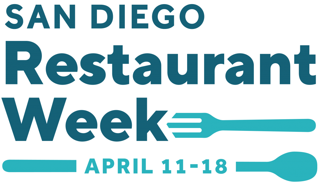 Logo of San Diego Restaurant week: Blue Writing SAn Diego Restaurant Week with a fork and spoon wrapped around the dates April 11-18