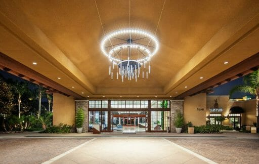 Lobby Entrance at the Westin Carlsbad with covered parking and large round chandelier