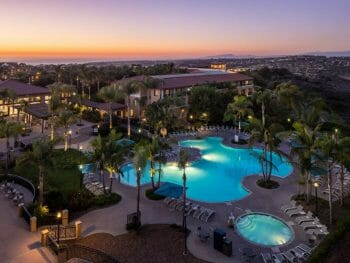 Sunset over the pool and property of The Westin Carlsbad Resort & Spa
