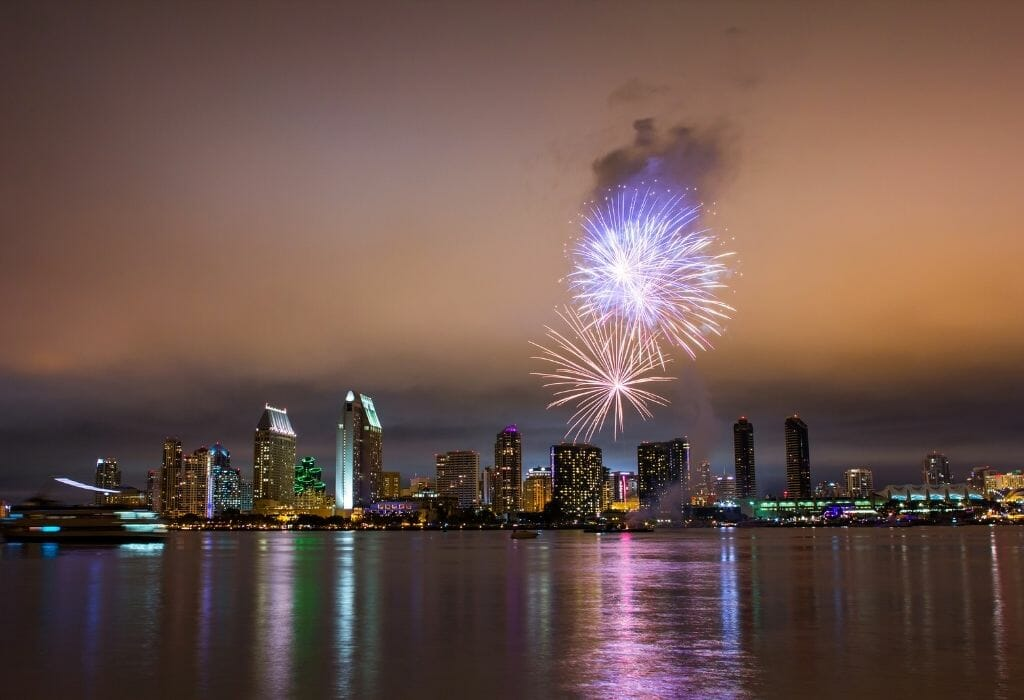 4th of July Fireworks in San Diego photographed from Coronado with the San Diego Bay in the foreground and San Diego skyline in the background