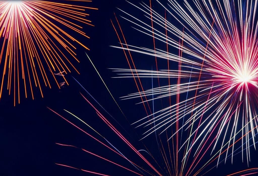 Closeup of firework blooms