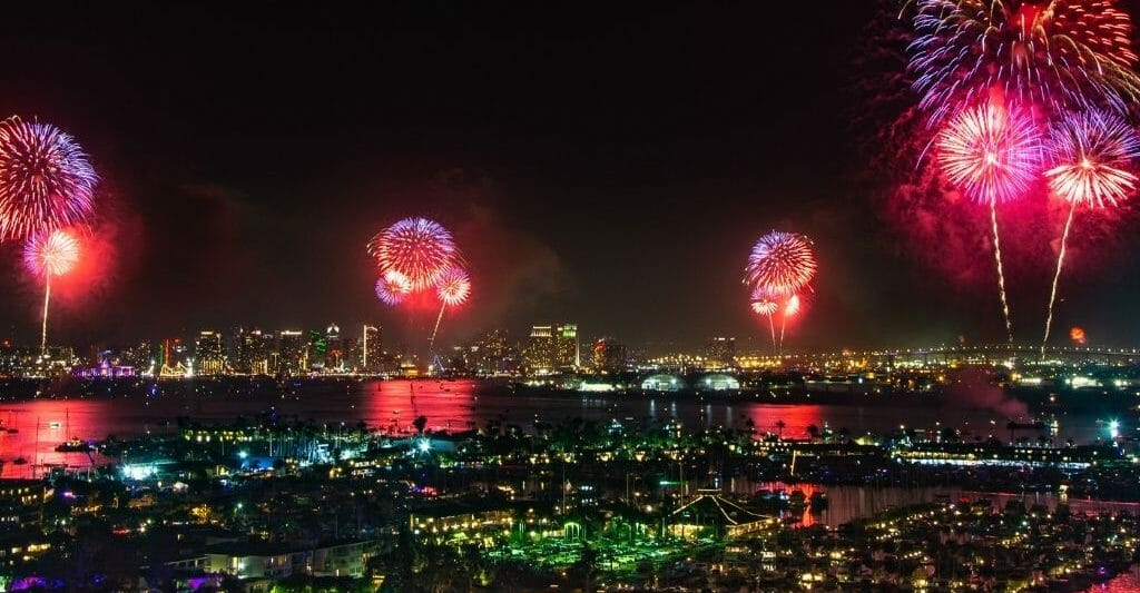 4 red fireworks over San Diego Bay Big Boom Bay Fireworks San Diego 4th of July