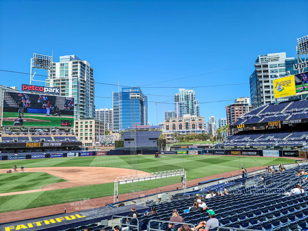 View of Petco Park Baseball Field from the stands with San Diego Downtown highrises in the background