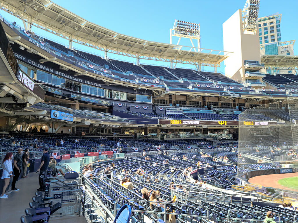 View of Petco Park stadium seats from the stands