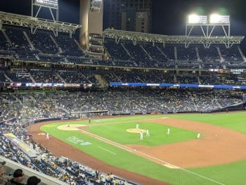 View of Baseball Diamond at Petco Park with Padres Playing the Mets - Friday night ball game - San Diego Petco Park Tickets