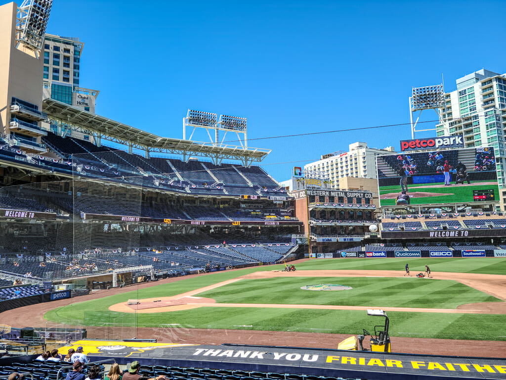 View of Petco Park Baseball Field from the stands in San Diego Downtown