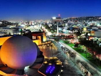 Aerial view of the round theatre of the CECUT cultural center in Tijuana during night